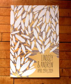 Personalized Wedding Guest Book Poster - Yellow and Gray Feathers