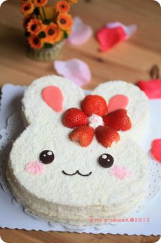 Bunny Cake- I want to throw an adoption anniversary celebration for Lilith and this will be the cake(for the humans of course, Lilith and any bunny guests will get big juicy strawberry treats)