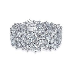 Bling Jewelry Oval Bridal Tennis Bracelet Clear CZ 7in Rhodium Plated ** You can find out more details at the link of the image.