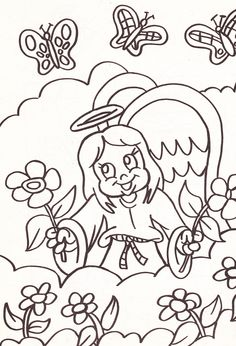 from an Angel's coloring book - girl angel with flowers and butterflies
