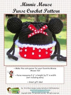This is the perfect purse to crochet for your favorite Minnie Mouse fan!    When completed, the purse measures 5 1/2 in height x 5 in width