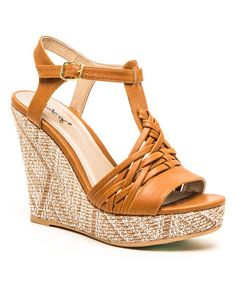 Another great find on #zulily! Camel Braided Lena Wedge Sandal by Qupid #zulilyfinds