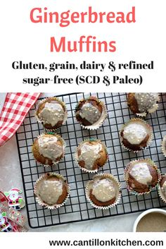 Gingerbread Muffins - free from: gluten, grains, dairy and refined sugar-free. Also suitable for Specific Carbohydrate Diet (SCD) and Paleo. Peanut Butter Icing, Specific Carbohydrate Diet, Ginger And Honey, Christmas Treats, Tray Bakes, Thanksgiving Recipes, Grain Free, Sugar Free, Gingerbread