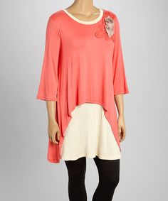 Another great find on #zulily! Coral & Cream Rosette Layered Tunic - Plus by Lady Noiz #zulilyfinds