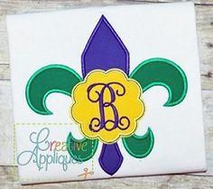 Mardi Gras Fleur De Lis Monogram Scallop Applique - 4 Sizes!   What's New   Machine Embroidery Designs   SWAKembroidery.com Creative Appliques