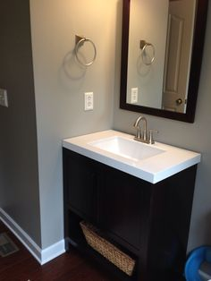 wall color-sherwin williams mindful gray | bathroom in