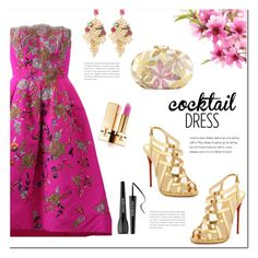 """""""Cocktail Dress"""" by huda-alalawi ❤ liked on Polyvore featuring Oscar de la Renta, Christian Louboutin, Yves Saint Laurent, Halo & Co., Rafe and MAKE UP FOR EVER"""