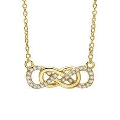 Lafonn Double Infinity Necklace    SIMULATED DIAMOND STERLING SILVER BONDED WITH GOLD PLATE
