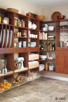Kitchen inspiration (a place for everything in this cherry-finish, modular pantry system by ORG)