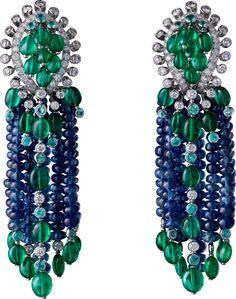 Cartier Étourdissant High Jewelry Earrings. Platinum, sapphires, emeralds, Paraiba tourmalines, diamonds.