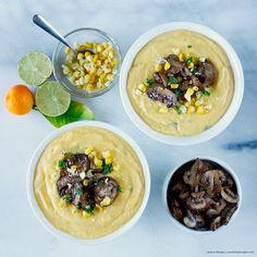 Creamy Baobab Coconut Corn Soup, Sauce and Dip   Sautéed Chili Mushrooms (low-fat, oil-free)