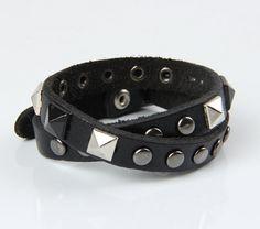 Men's black leather bracelet Rivets by leathercuffbracelet on Etsy