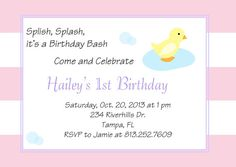 Rubber Ducky Birthday Party: Printable Invitations
