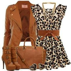 U-neckline Short Sleeveless Leopard Printed Dress, Coat, handbag, New Arrival Pu Pointed Toe Side Buckle Stiletto Heel Boots