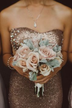 Rose Gold Sequin Bridesmaids Dresses with Blush Flowers | Rainy Day Pennsylvania Wedding