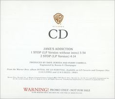 "For Sale -Janes Addiction Stop! USA Promo  CD single (CD5 / 5"")- See this and 250,000 other rare and vintage records & CDs at http://eil.com/"