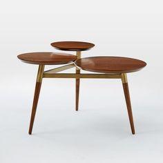 Clover Coffee Table - Walnut/Antique Brass | west elm