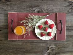 Rustic Red Wood Tray Wooden Tray Pallet Tray by DunnRusticDesigns