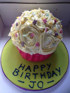 Giant cupcake birthday cake.