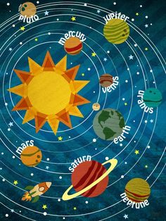 """Our Solar System"" Outta Sight Outer Space Wall Art for Kids by Molly Bernarding for Oopsy Daisy 18x24 $119"