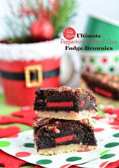 Ultimate Peppermint Cookie n' Oreo Fudge Brownies.  Recipe at TidyMom.net
