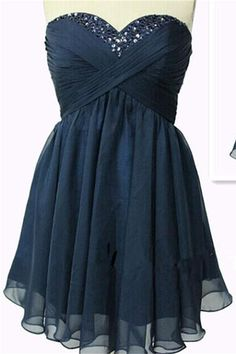 0b06494139 Strapless Navy Blue Chiffon High Low Homecoming Dresses Short Prom Dresses  K367 Cute Homecoming Dresses