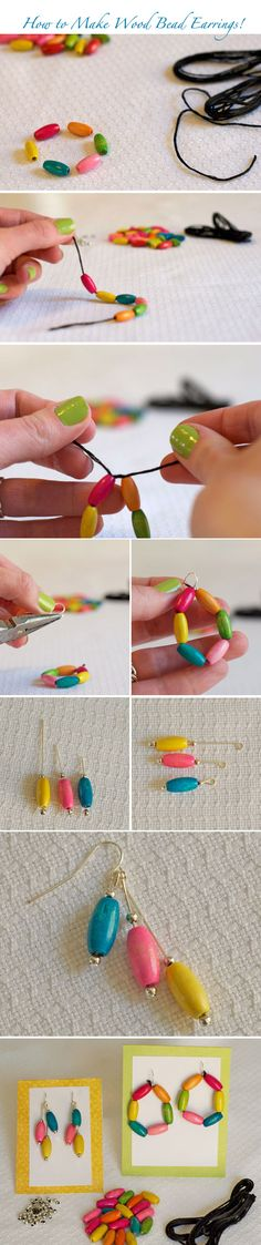 How to make easy wood bead earrings! Find Tutorials for 2 styles here!  http://www.weddingwindow.com/blog/2012/05/14/diy-colorful-wood-bead-earrings/