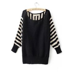 Black Striped Long Sleeve Batwing Pullovers Sweater ($30) ❤ liked on Polyvore