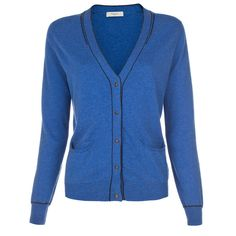 Paul Smith Blue V-Neck Cardigan ($130) ❤ liked on Polyvore featuring tops, cardigans, jackets, shirts, sweaters, cuff shirts, blue v neck shirt, cardigan top, shirts & tops and cardigan shirt