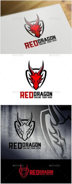 Red Dragon Logo Template — Vector EPS #simple #dark • Available here → graphicriver.net/...