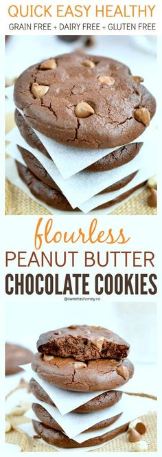Flourless Peanut Butter Chocolate Cookies Grain Free Paleo + Dairy free + Gluten Free. 6-ingredients .15 minutes preparation. Clean eating cookies or healthy christmas cookies to share.