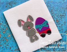 Bunny with Easter Egg Wagon by JazzyZebraDesigns on Etsy