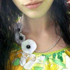White Poppy Necklace Trio Handmade Felt Flower Jewelry from akaCINDERS