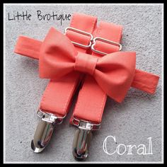 Coral Bow Tie and Suspender Set in sizes for by LittleBrotique