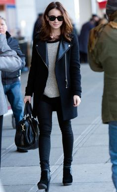 I want that jacket. Lily Collins Fashion c9d128052
