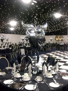 Black and White Party: Don't Forget the Dance Floor! - Events are always all about the details. It wouldn't do for you to have a wooden dance floor at your Black and White Party now would it? Rent a bl. Masquerade Party Decorations, Masquerade Ball Party, Sweet 16 Masquerade, Masquerade Wedding, Masquerade Theme, Prom Decor, Venetian Masquerade, Prom Themes, 40th Birthday Parties