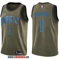 56aa40fbd0b9 Men s Nike Orlando Magic  1 Tracy Mcgrady Green Salute to Service NBA  Swingman Jersey