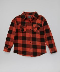 Another great find on #zulily! Orange Plaid Button-Up - Infant, Toddler & Boys by Woolrich #zulilyfinds