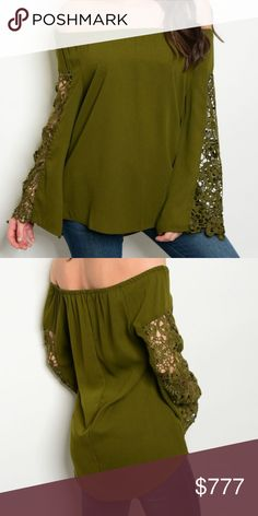 """GORGEOUS IN GREEN"" OFF SHOULDER TOP Brand new Boutique item  Gorgeous olive green off shoulder top featuring feminine lace details on flared sleeves. A must have for the season!!  100% POLYESTER . Tops Blouses"