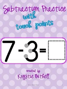 Touch Point Subtraction Practice using numbers 1-20.  Problems are large so students with fine motor difficulties can work independently!