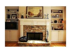 I am not a fan of the side legs but like the front and mantel Stone Fireplace Mantel, Cottage Fireplace, Stone Fireplaces, Fireplace Ideas, Cool Rooms, Future House, Home Remodeling, Kitchen Remodel, Beautiful Homes