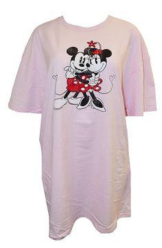 Disney Women s Minnie Mouse   Mickey Mouse Sleep Pajama T-shirt One Size  Pink b29a37a7f