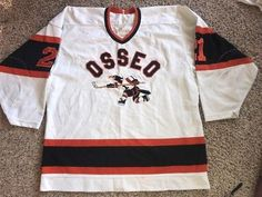 Old-Osseo-Orioles-game-worn-high-school-hockey-jersey-L-21-Rare-Sewn-Ccm