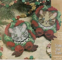 Meowy Christmas Ornaments Plastic Canvas by needlecraftsupershop, $3.99