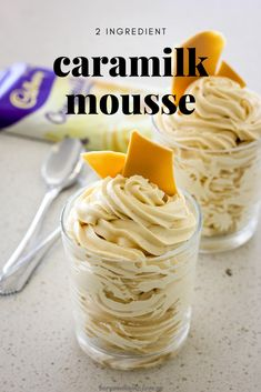 If you have a block of Caramilk chocolate and some thickened cream, you have everything you need to make this delicious Caramilk Mousse. Containing only 2 ingredients, it's the simplest dessert around that is sure to impress and Caramilk fan. Mini Desserts, Easy Desserts, Delicious Desserts, Yummy Food, Thermomix Desserts, French Desserts, Plated Desserts, Tasty, Baking Recipes