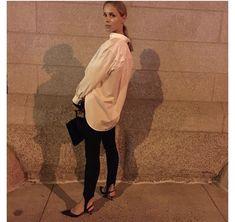 Designer Elin Kling is the best advertisement for her Toteme stirrup tights.