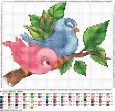 Cross-stitch Cute Lovebirds...  Ponto cruz: Pássaros