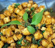 Thai dish- Tofu Fried with Basil, via Javaholic