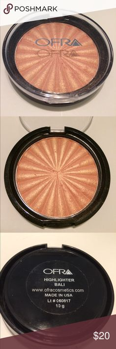 """Ofra Highlighter in Bali Part of the new """"Island Time"""" summer collection, Bali is a multi-dimensional golden highlight with peach undertones. The Ofra formula is super smooth, buildable, and blends seamlessly due to our liquid to baked technology. I purchased this here on Posh and only used 3-4x but the color just did not work on my uber pale skin but the product itself is STUNNING! The product has been sanitized. ***I do not trade but I do offer discounts when bundling and consider…"""