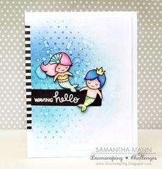 waving hello (mermaids) card - ls, watermark | by samanthamann11
